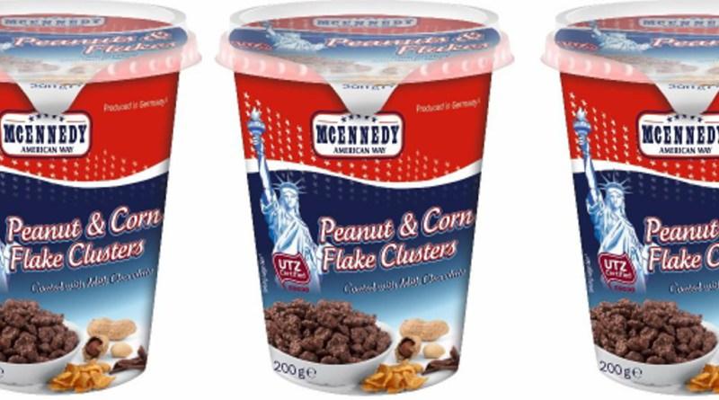"Lidl tilbagekalder McEnnedy ""Peanut & Corn Flake Clusters med choko""."
