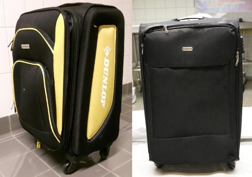 Politiet søger vidner, der har set personer opfører sig mistænkeligt, mens de transporterede en sort eller sort/gul kuffert som på billederne ved centrale områder i sagen. Foto: Politiet.