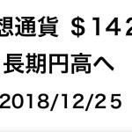 2018/12/25 仮想通貨時価総額 $143B ドル/円は円高へ