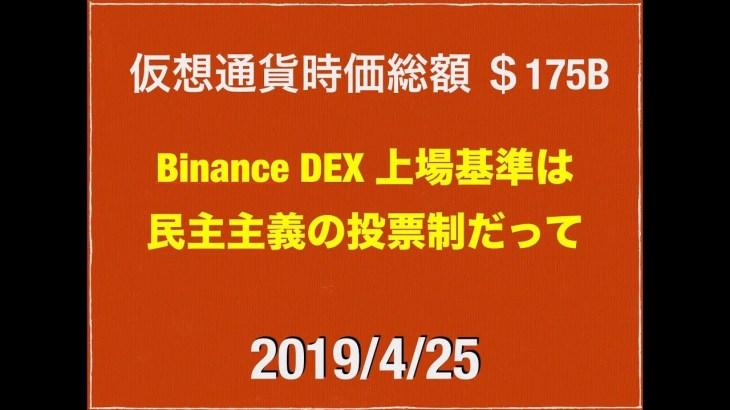 2019/4/25 仮想通貨時価総額19兆8000億 ドル動き荒い111円後半