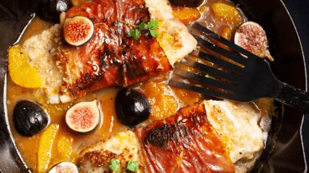Almond-Crusted Cod with Orange and Figs Recipe