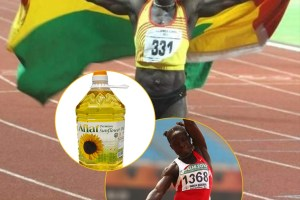 Former Ghanaian heptathlete, Margaret Simpson, sells cooking oil to survive