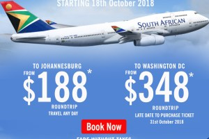 Fly SAA from Accra to Johannesburg and Back for $188