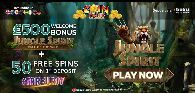 Coin Falls welcome bonus + free spins