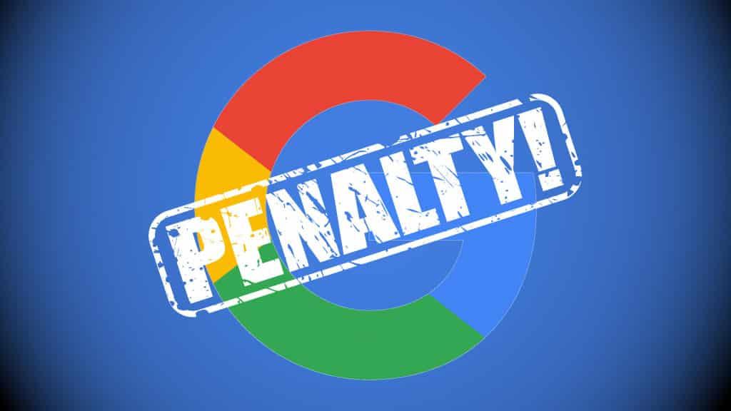 Google penalty causing decrease in google rankings