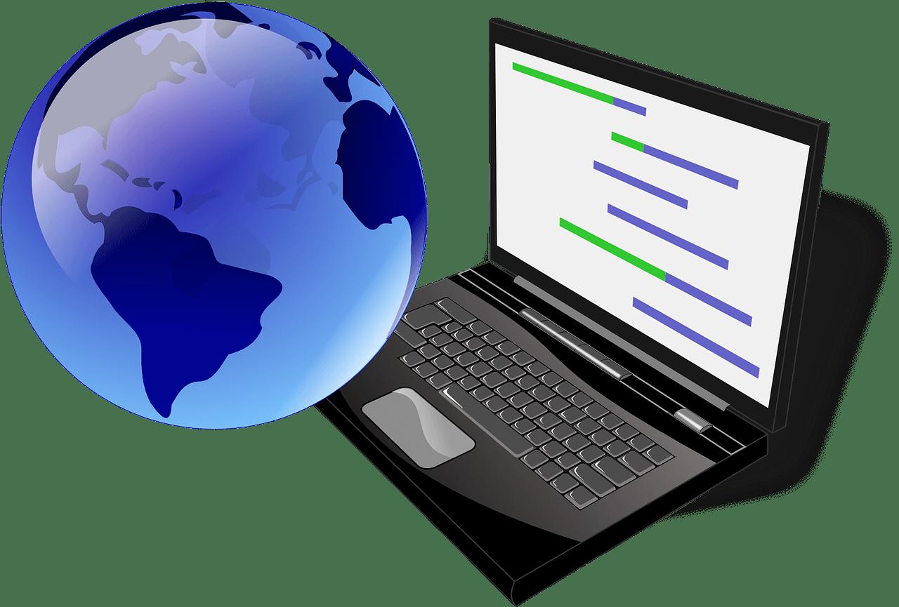 Laptop and globe, process of internationalization