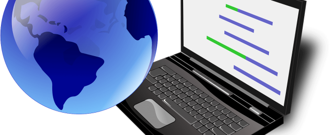 Laptop and globe, process of internationalization