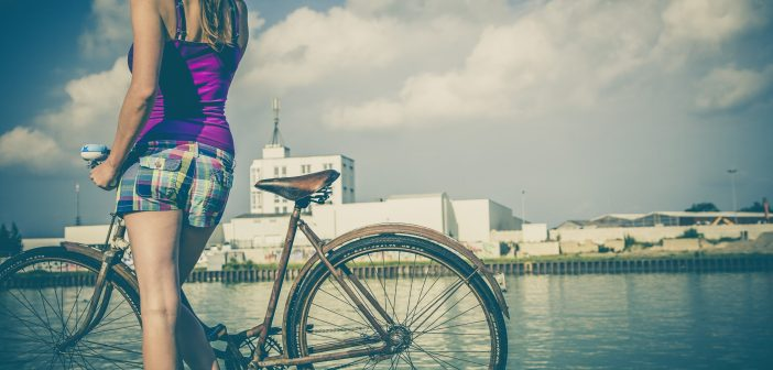 woman, bike, urban