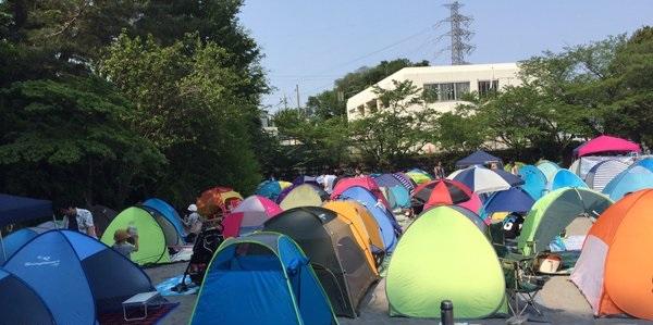 テントを張った運動会会場