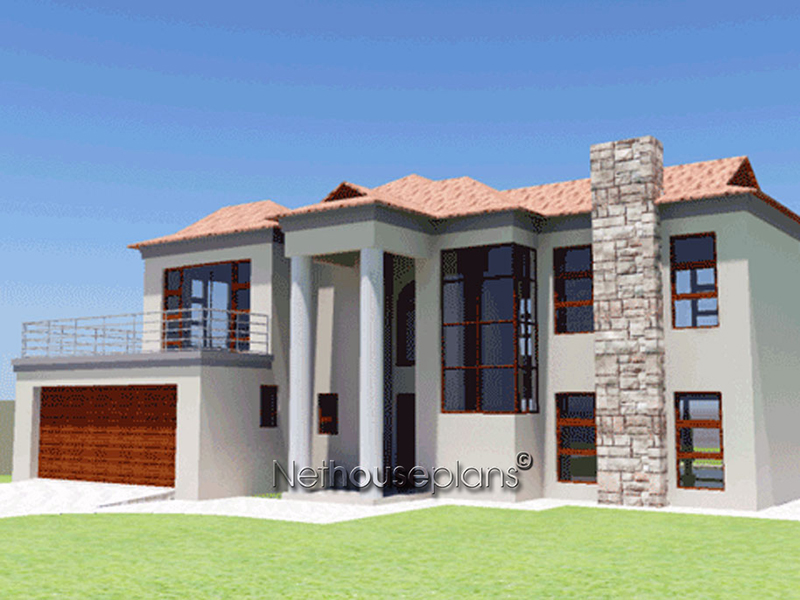 3 Bedroom House Plan   Building Plans   Net House Plans South     Double storey tuscan house design by Net House Plans South Africa