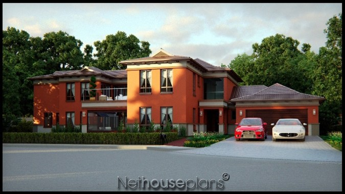 5 Bedroom Two Story House Plan   Building Plans Online     Double storey Bali house design by Net House Plans South Africa