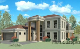 Nethouseplans.com - Modern tuscan style house plan with 5 bedrooms