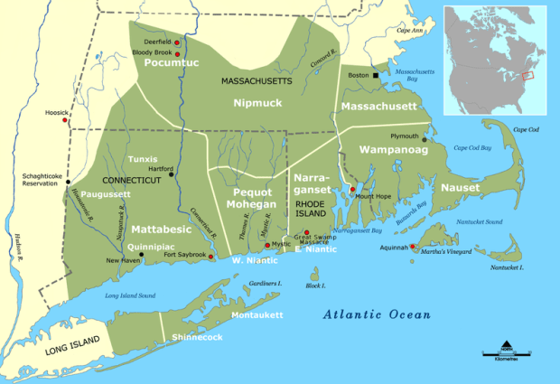 New England Tribes locations at the time of King Phillips War