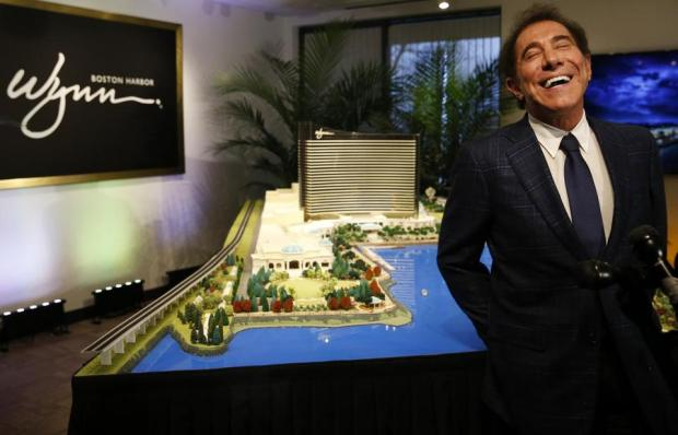 Steve Wynn with his rendition of Wynn Boston Harbor