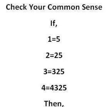 Common sense puzzle if 1=5
