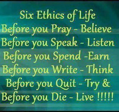 Whatsapp Status quotes – Six Ethics of Life