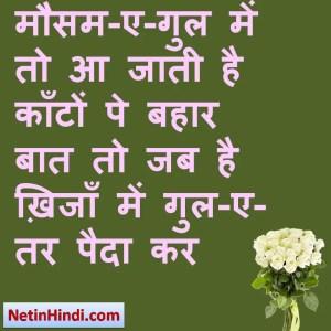 Bahaar status in hindi fb, best hindi shayari on Bahaar, new hindi shayari on Bahaar, 2 line hindi shayari on Bahaar मौसम-ए-गुल में तो आ जाती है काँटों पे बहार  बात तो जब है ख़िजाँ में गुल-ए-तर पैदा कर  ~फ़ना निज़ामी