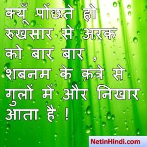Shabnam shayari dp, Shabnam whatsapp status, Shabnam whatsapp status in hindi, whatsapp status Shabnam Parक्यूँ पोंछते हो रुखसार से अरक को बार बार ,  शबनम के क़त्रे से गुलों में और निखार आता है !