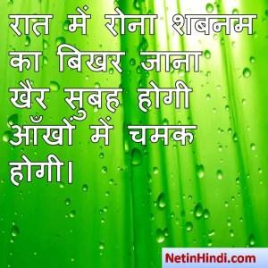 Shabnam shayari dp, Shabnam whatsapp status, Shabnam whatsapp status in hindi, whatsapp status Shabnam Parरात में रोना शबनम का बिखर जाना  खैर सुबह होगी आँखों में चमक होगी।