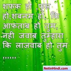 Shabnam shayari dp, Shabnam whatsapp status, Shabnam whatsapp status in hindi, whatsapp status Shabnam Par शफ़क़ हो ,फूल हो,शबनम हो, कि आफ़ताब हो तुम,  नही जवाब तुम्हारा कि लाज़वाब हो तुम ,,,,,,
