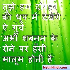 hindi Shabnam status, status in hindi for Shabnam तुझे हम दोपहर की धूप में देखेंगे ऐ ग़ुंचे  अभी शबनम के रोने पर हँसी मालूम होती है  ~शफ़ीक़_जौनपुरी