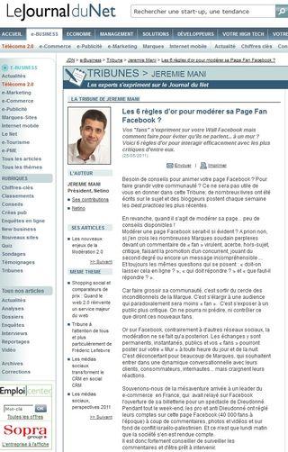 Tribune Journaldunet : 6 règles d'or pour modérer sa page fan Facebook