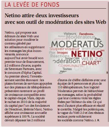 Article dans Les Echos (Web et papier) sur la levée de fonds Netino