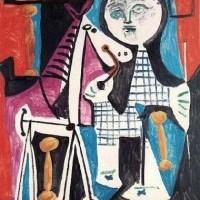 """Pablo Picasso (1949): """"bambino con cavallo a rotelle""""."""