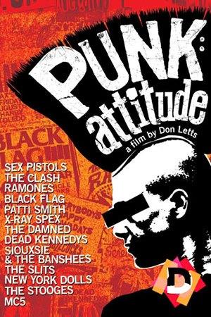 Punk: Attitude. Documental. Dibujo de perfil de un punk con gran cresta