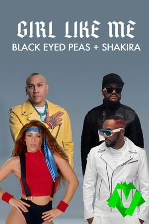 Componentes de Black Eyed Peas junto a Shakira que viste con ropoa de fitness