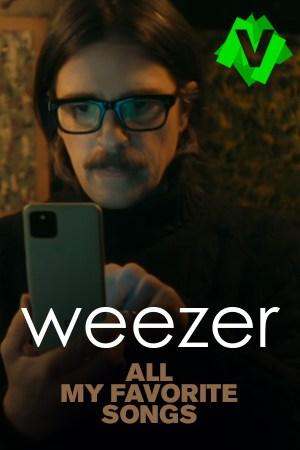 Weezer - All My Favorite Songs. Persona con gafas de pasta, bigote tocando un movil