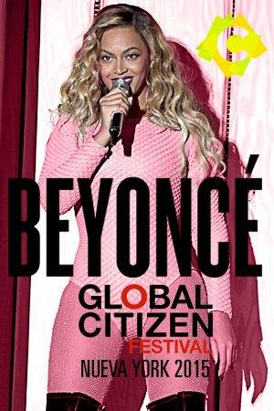 Beyoncé - Global Citizens Festival. beyoné rubia con botas negras y de rosa