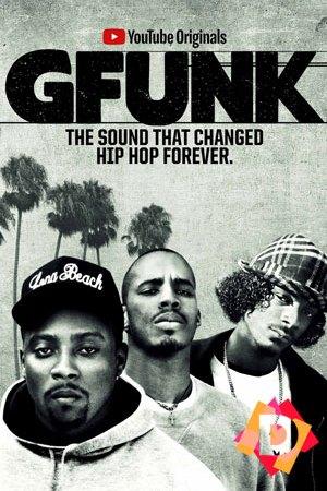 G Funk - El Documental. Warren G, Snoop Dogg y Nate Dogg en blanco y negro palmeras por detras