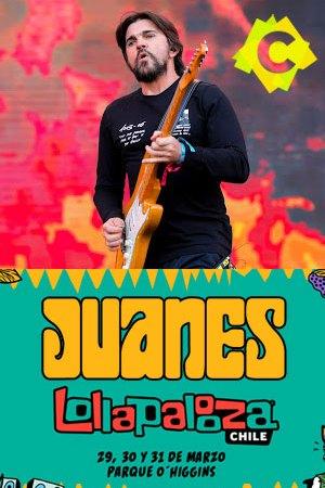 Juanes - Festival Lollapalooza. juanes vestido de negro con fondo de colores hippy