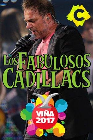 Los Fabulosos Cadillacs -Festival De Viña. vicentico cantando con una chaqueta negra y una camiseta roja