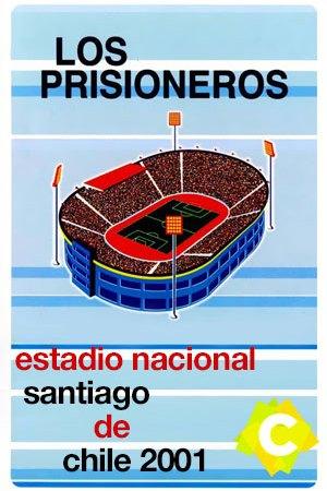 Los Prisioneros - Estadio Nacional. Estadio de futbol dibujado azul y rojo fondo celeste