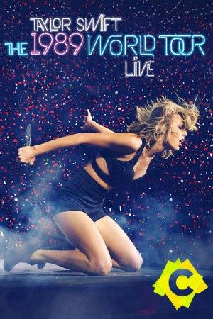 Taylor Swift - 1989 World Tour. taylor swift de rodillas en un fondo azul oscuro con estrellas