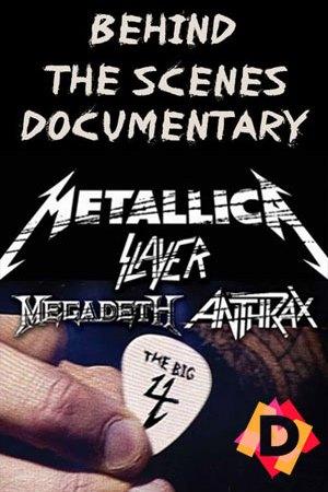 The Big Four Behind The Scenes Documental una pua de guitarra y los logos de metallica slayer megadeth y anthrax