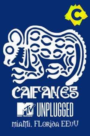 Caifanes - MTV Unplugged. dibujo azteca blanco en un fondo azul y la palabra Caifanes