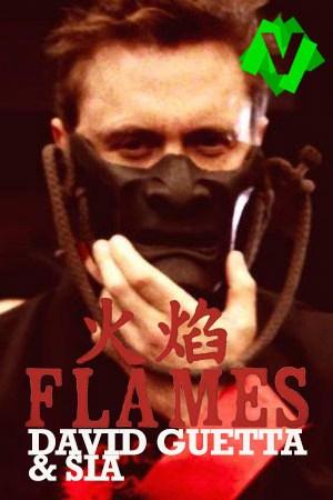 Davis Guetta vestido de emperador japonés y con una máscara que le cubre media cara