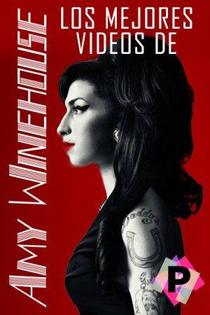 Los Mejores Videos De Amy Winehouse. Con vestido negro en fondo rojo.