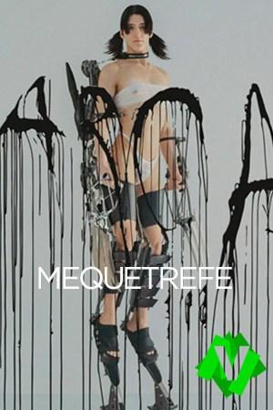 la artista venezolana Arca con una estructura metalica que la mantiene de pie