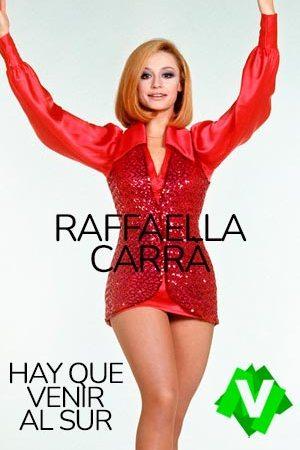 Raffaella carrà con traje y minifalda roja y los brazos levantados