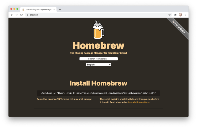 download and install homebrew for macos catalina