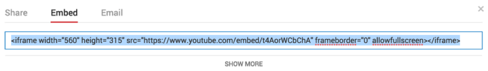 Código embed do Youtube