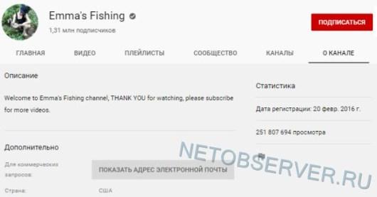 Ютуб-канал Emma's Fishing - статистика канала о рыбалке №1