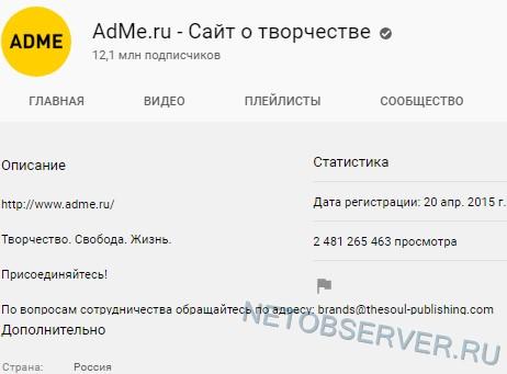 Статистика Youtube-канала Adme.ru