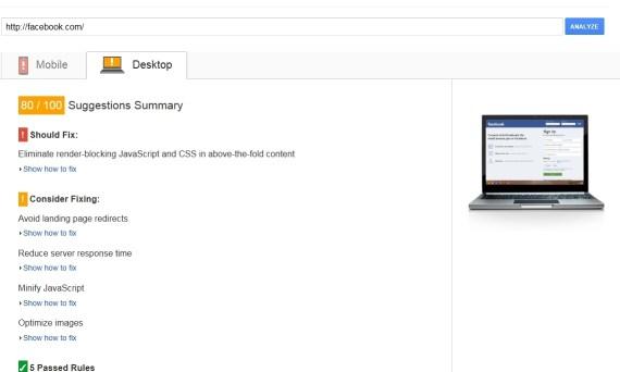 facebook result in desktop speed