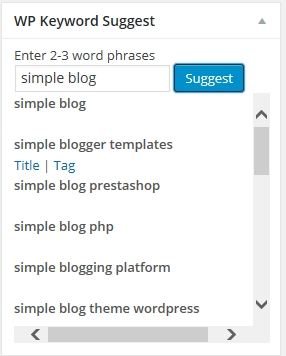 WP Keyword Suggest