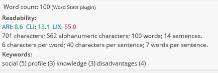 Word Stats details